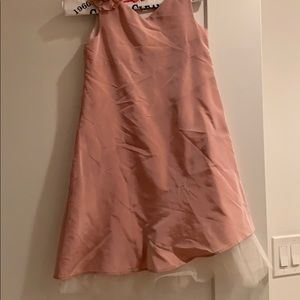 Monkey wear satin pink dress with right pin flower